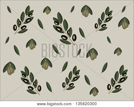 Green and black olive branches pattern. Olive leaves.