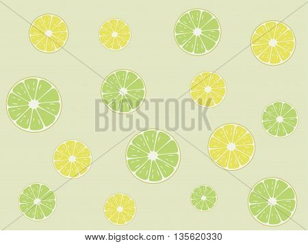 Lemon and lime slices vector pattern on green background