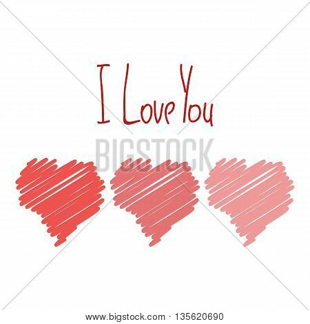 I Love You Card With Red Hearts Hand Drawn Isolated Poster Vector