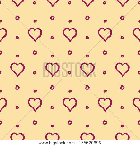 Hearts and Dots Cute Hand Drawn Seamless Pattern Vector