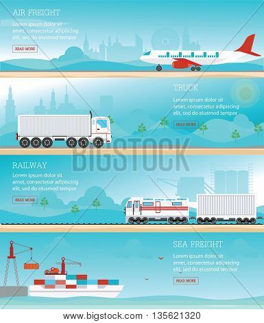 Infographic of Industrial transport air Freight railway train cargo ships and truck logistics conceptual vector illustration.