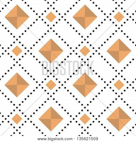 Seamless pattern with diamonds and circles. Casual texture. Vector illustration.