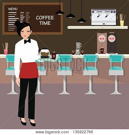 cafe waitress holding coffee serve with interior of the restaurant behind like stall and menu vector
