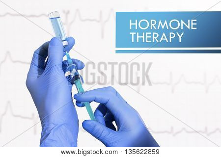 Hormone therapy. Syringe is filled with injection. Syringe and vaccine