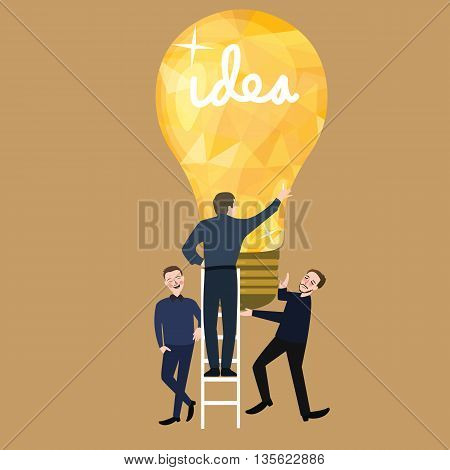 working together teamwork make ideas success light bulb business concept of team building vector