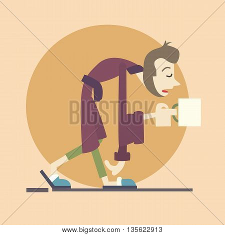 man lazy bring morning coffee just wake up vector