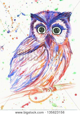 unreal watercolor owl sitting on the branch