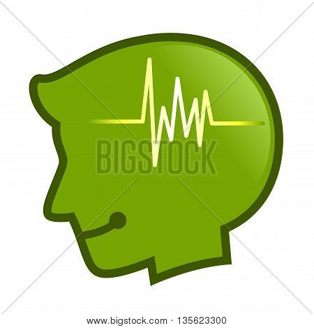 Vector stock of human head silhouette with pulse beat Symbol inside