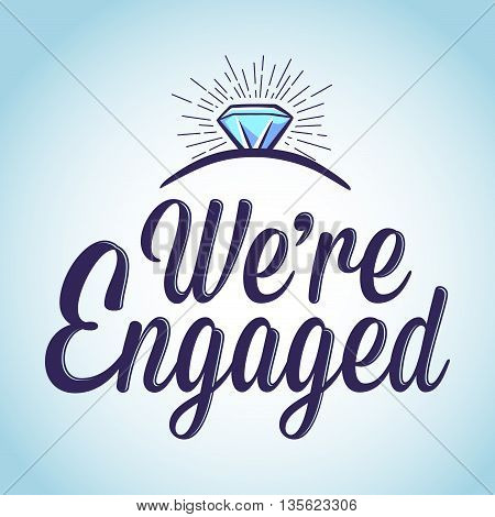 Vector stock of we are engaged with ring typography art