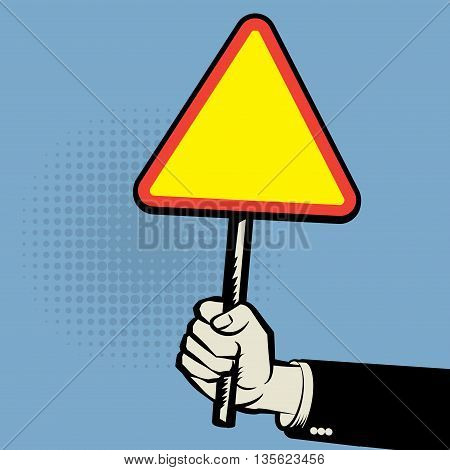 Empty road sign in a hand, vector illustration