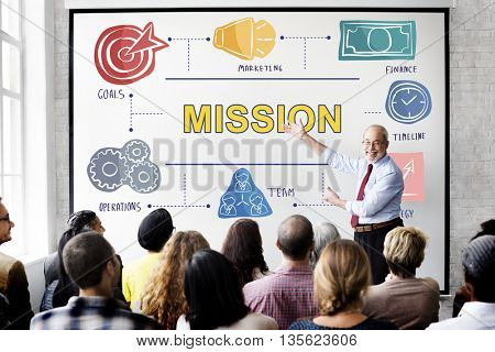 Mission Aim Target Vision Goals Ideas Aspiration Concept