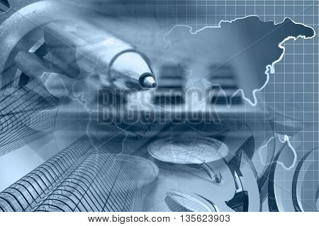 Financial background in blues with money calculator map and pen.
