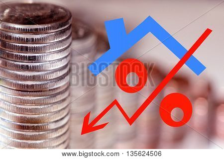 Red icon of interest on the background of coins