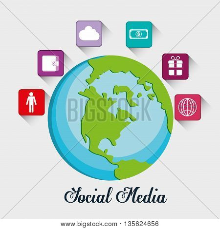 Social Media represented by icon set of frame multimedia apps around planet . Colorfull and flat background