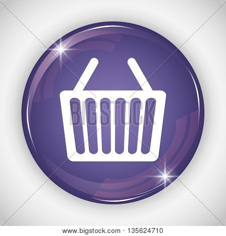Social Media button represented by shopping basket multimedia app . Colorfull and isolated illustration