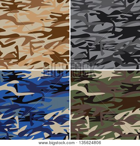 Military camouflage pattern set of desert, urban, navy, jungle. Military camouflage pattern.