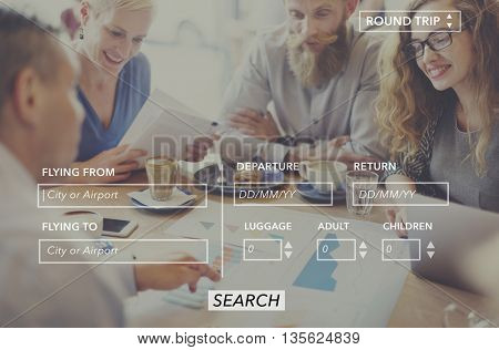 Booking Reservation Online Ticket Traveling Technology Concept
