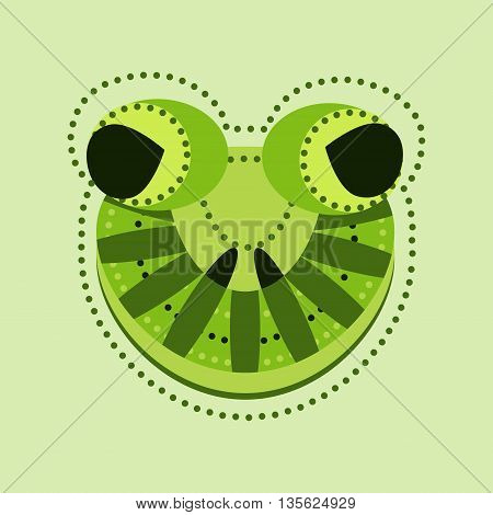 Ornate frog head. Vector decorated frog with geometrical elements mascot animal frog mask