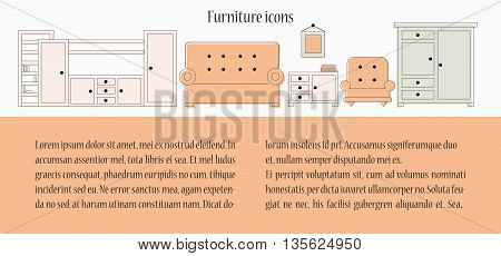 Furniture icon set. Vector illustration of wardrobe sofa couch isolated on white background