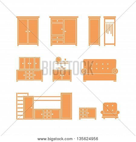 Furniture icon set. Vector illustration of wardrobe cupboard sofa couch isolated on white background