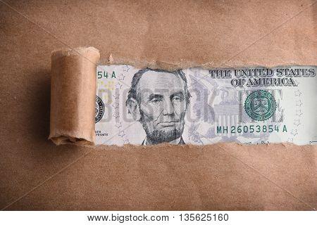 Five dollars macro through torn brown paper