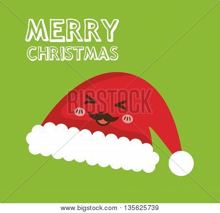 Merry Christmas concept represented by kawaii hat cartoon icon. Colorfull and flat illustration