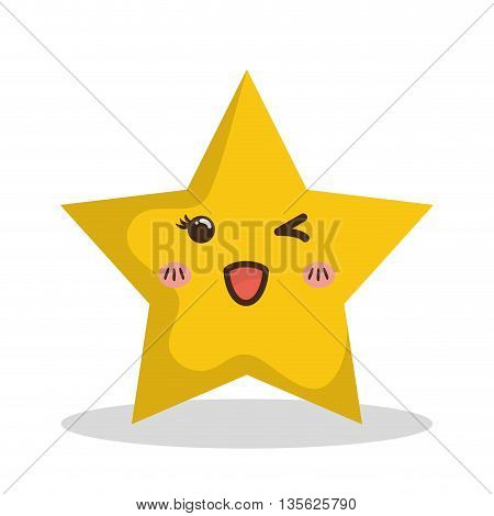 Merry Christmas concept represented by kawaii star cartoon icon. Colorfull and flat illustration