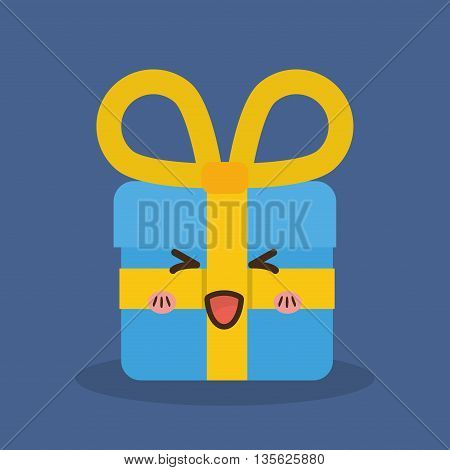 Merry Christmas concept represented by kawaii gift cartoon icon. Colorfull and flat illustration