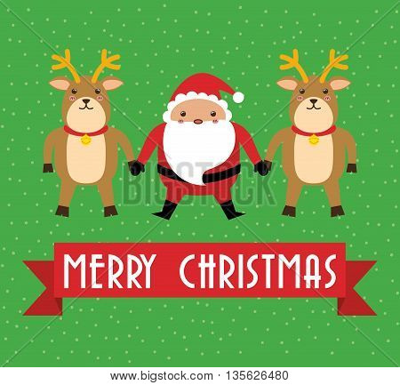Merry Christmas concept represented by kawaii santa and deer cartoon icon. Colorfull and flat illustration