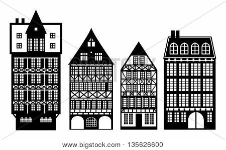 Abstract Old German houses set, vector illustration