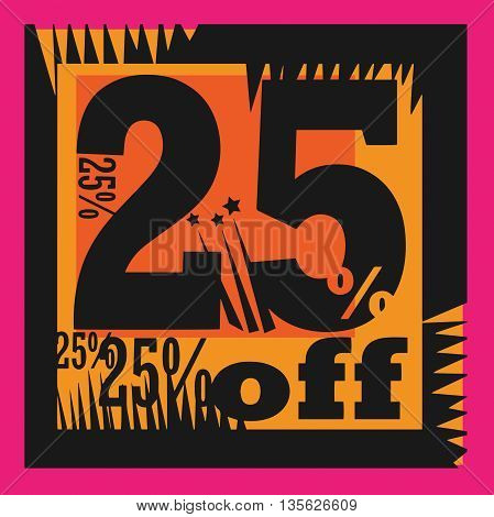 Abstract Sale sign - 25 percent Off, vector illustration