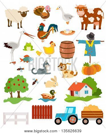 set of farming live animals birds objects farmhouse tress scarecrow pumpkins and tractor. vector illustration