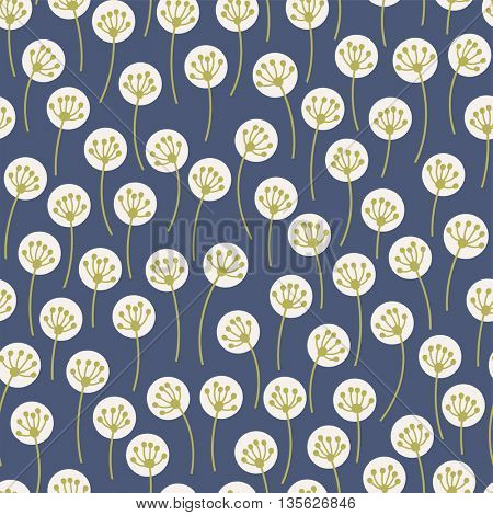 seamless pattern with abstract dandelion ornament