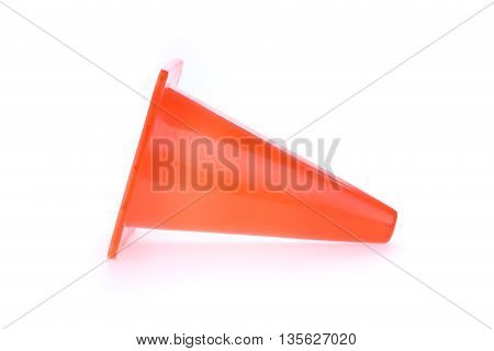 Orange Cone Used Warning Sign Under Construction Work Area, Isolated On White Background