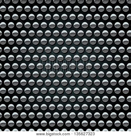 Metal studs on black background seamless pattern .