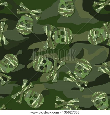 Camouflage skull in a seamless pattern .