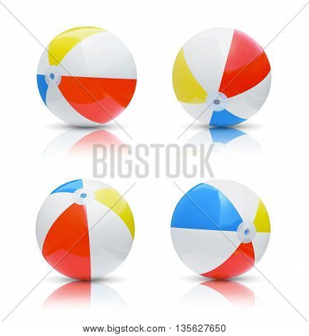 Collection of beach balls isolated on white background