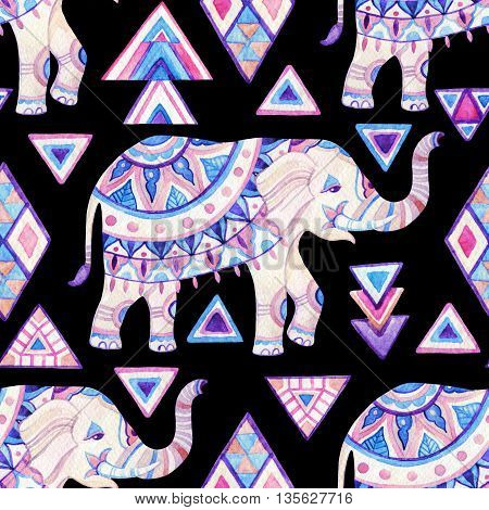 Watercolor indian elephant. Ornate elephant seamless pattern on tribal background in bohemian style. Hand drawn illustration for design in tribal or boho styles