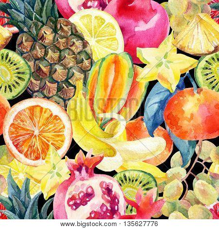 Exotic watercolor fruit mix seamless pattern. Tropical pineapple orange lemon tangerine pomegranate grapes banana star fruit background. Hand painted summer illustration