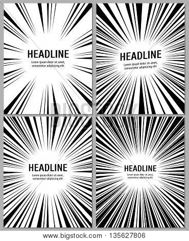 Business brochure with radial comic speed lines. Radial monochrome banner and booklet paper template with radial pattern. Vector illustration template