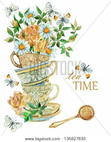 Watercolor tea cups background with spoon flowers and butterfly. Tea crockery in victorian style. Hand painted illustration for your design