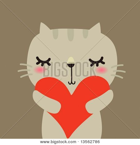 Cute vector rabbit with love