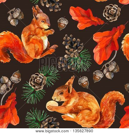 Watercolor forest seamless pattern. Hand painted squirrels acorn cone oak leaves and pine branches on brown background.