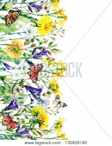 Meadow watercolor flowers card with butterfly. Watercolor wild bellflowers dandelion daisy weeds and herbs background with butterfly. Hand vertically painted natural illustration