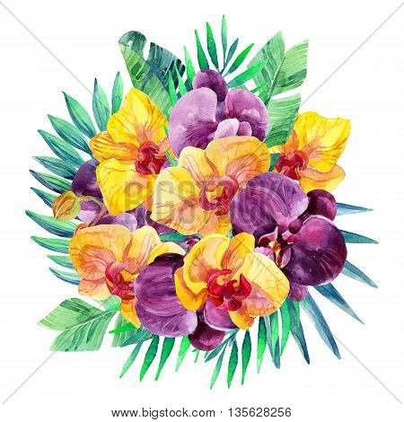 Watercolor Orchid flowers arrangement. Orchid bloomings and tropical palm leaves card. Exotic flowers and jungle leaves. Hand painted watercolor illustration
