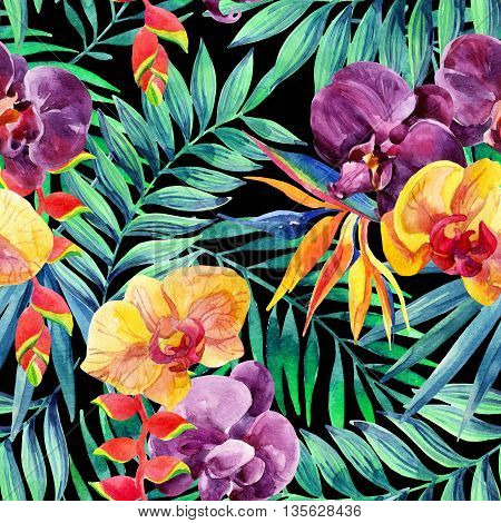 Watercolor tropical leaves and flowers seamless pattern. Tropical jungle background. Exotic bird-of-paradise orchid and lobster-claws flowers. Hand painted illustration for floral design.