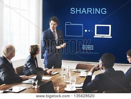 Sharing Information Networking Social Media Concept