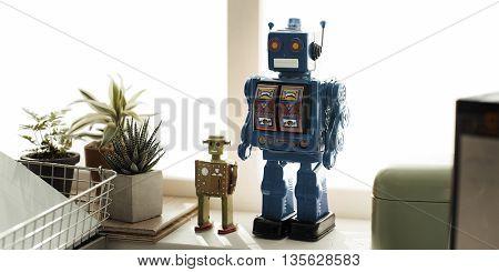 Robot Robotic Metallic Control Symbol Object Concept