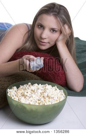 Popcorn Television Girl