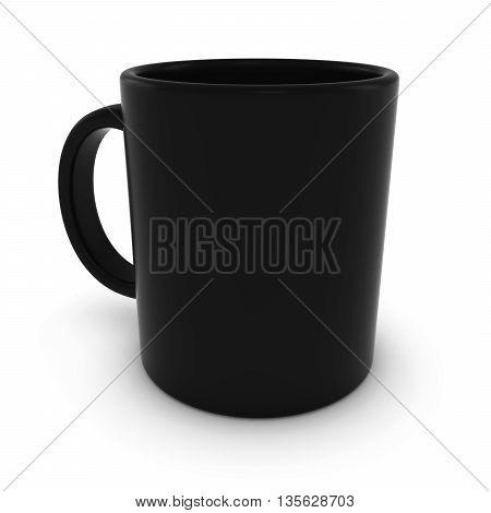Plain Black Mug Isolated on White Background 3D Illustration
